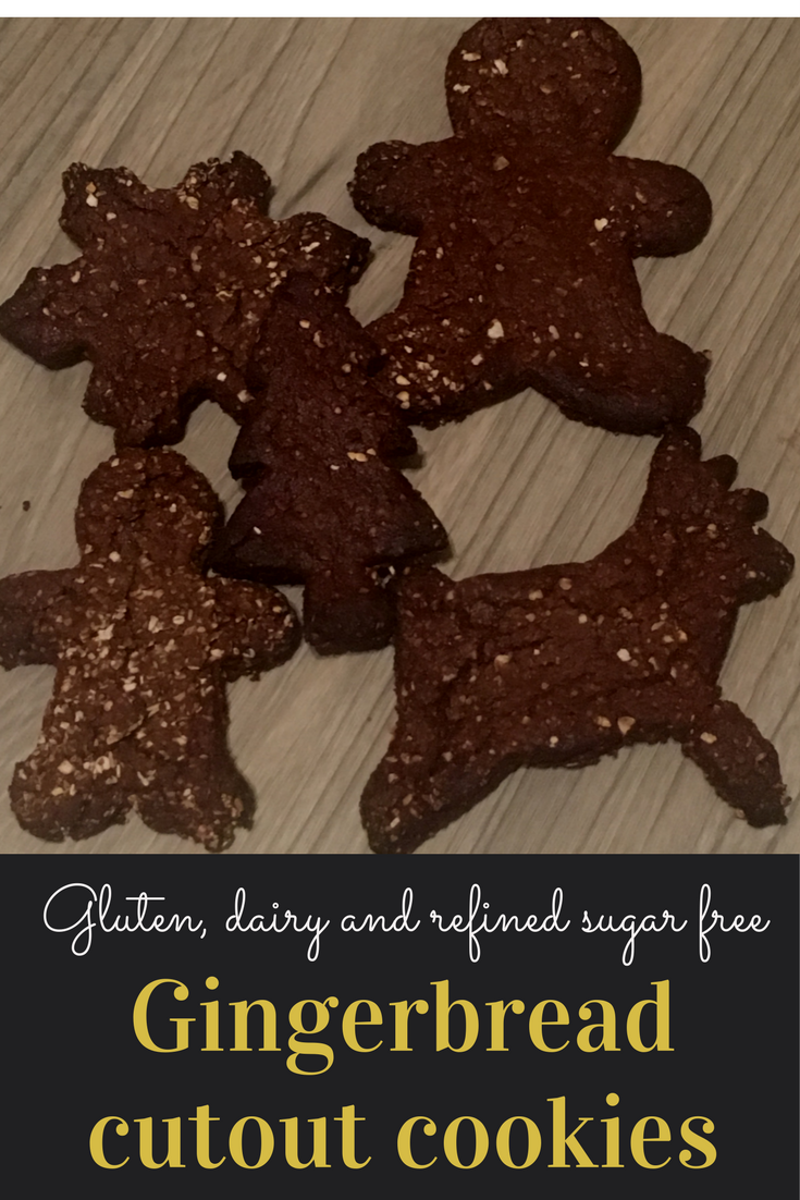 Gluten dairy and refined sugar free gingerbread cutout cookies.