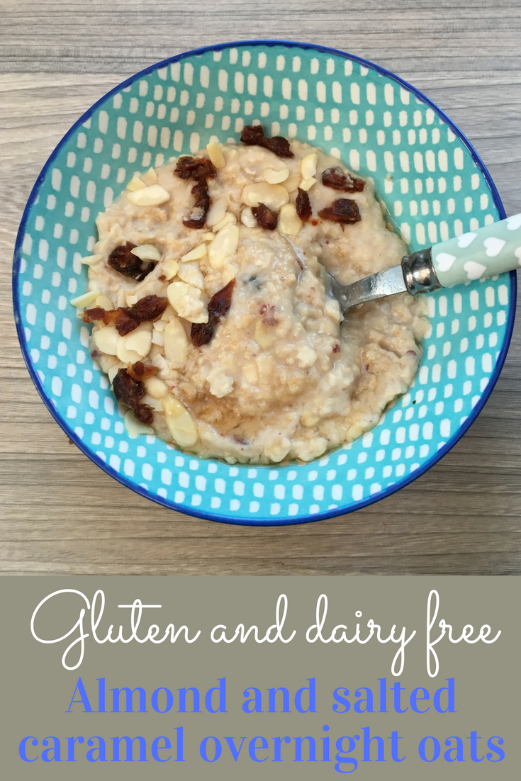 Gluten and dairy free almond and salted caramel overnight oats