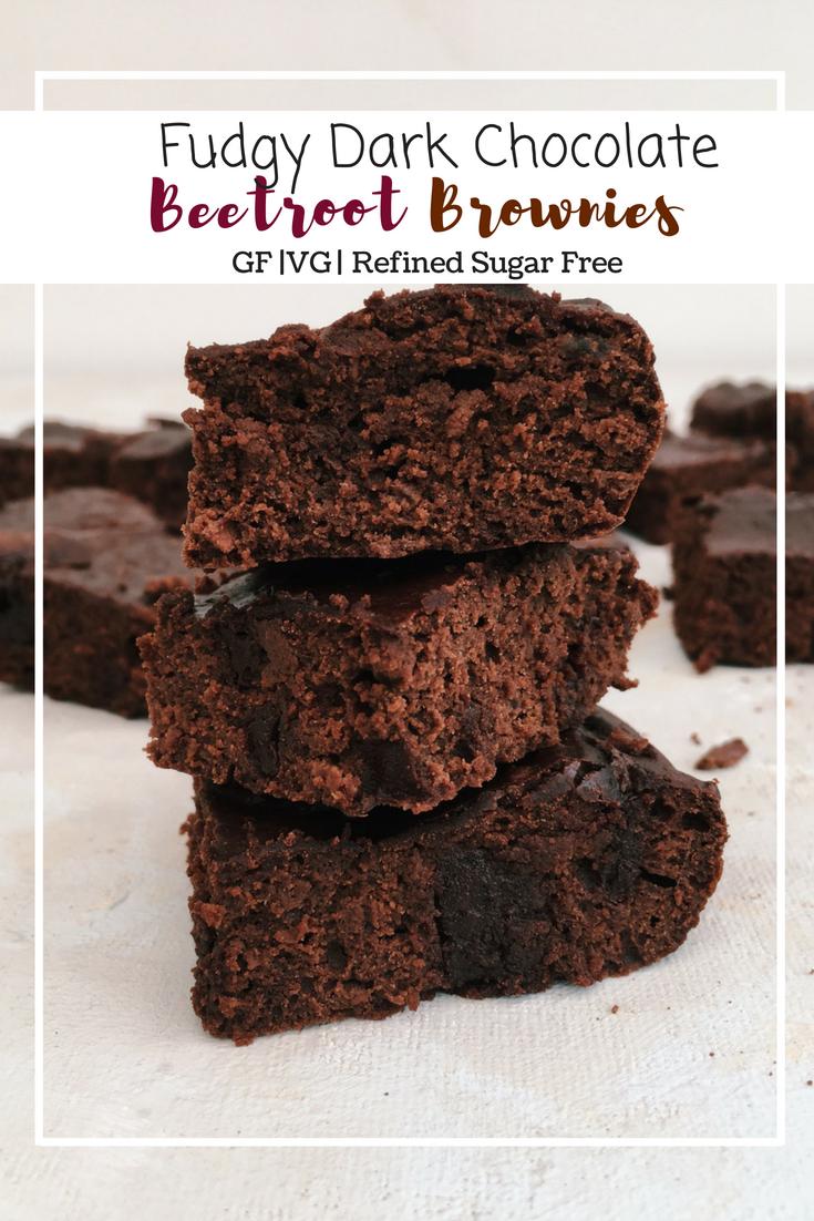 Fudgy Dark Chocolate Beetroot Brownies (GF, DF, Refined Sugar Free)
