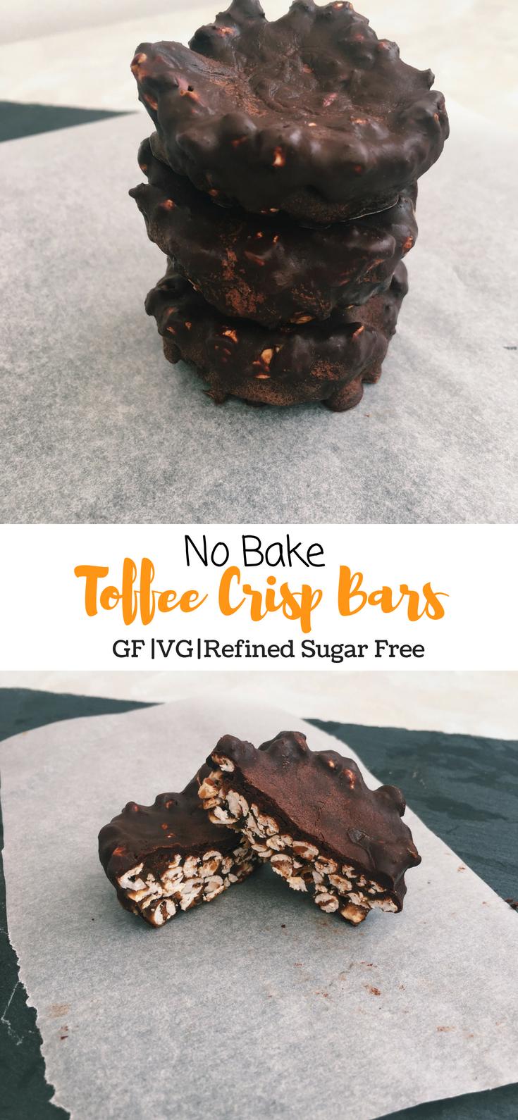 No Bake Toffee Crisp Bars (GF, VG, Refined Sugar Free)
