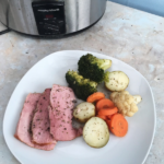 Slow cooker ham potatoes and veg