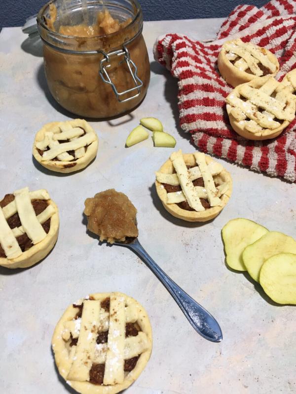 flat lay of mini apple pies